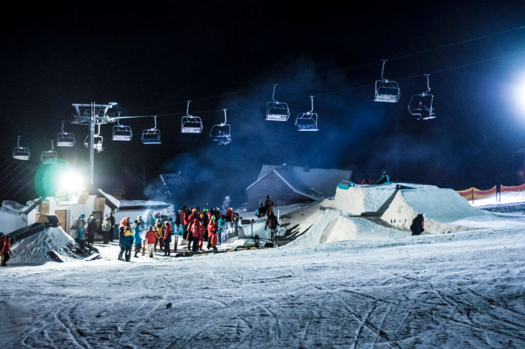snowboard school event night snowpark