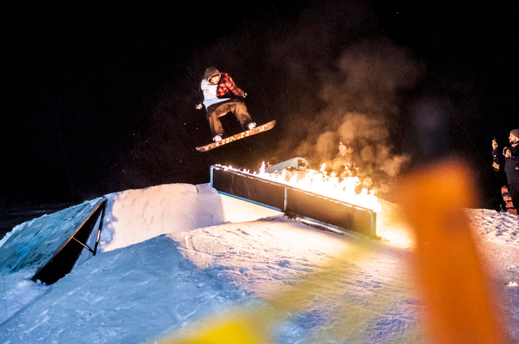 snowboard freestyle jibbing transfer fire