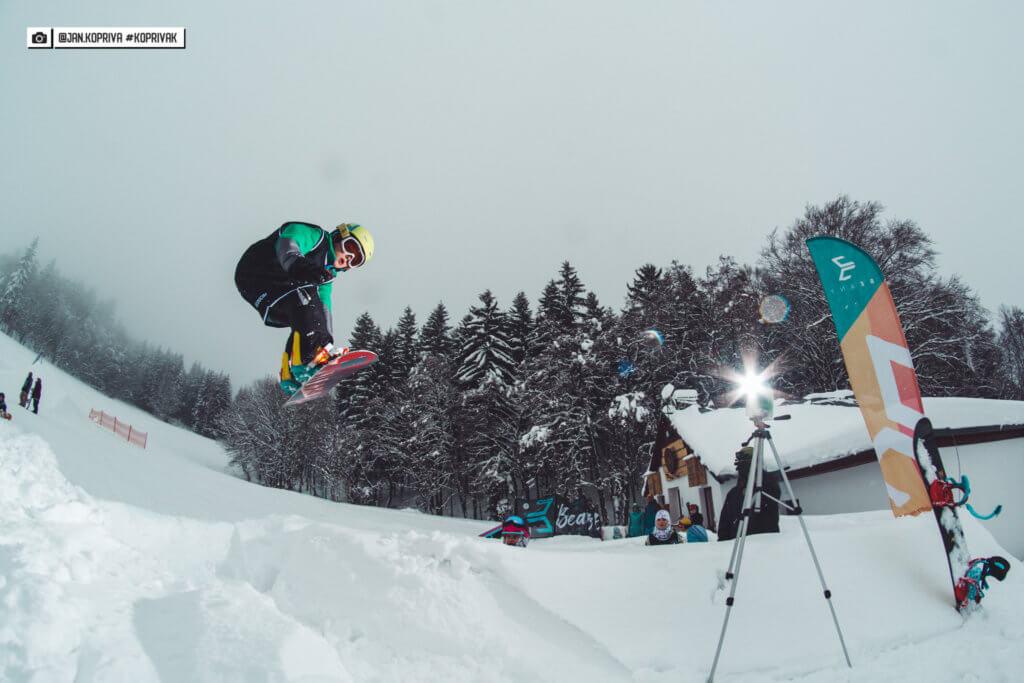 snowboarder ollie jump