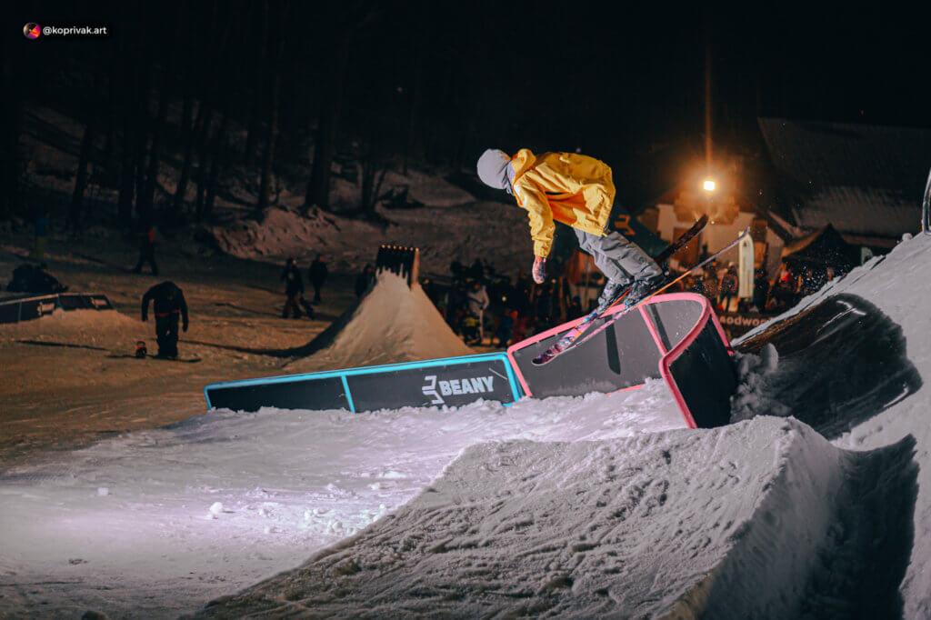 Rail freestlyle skier