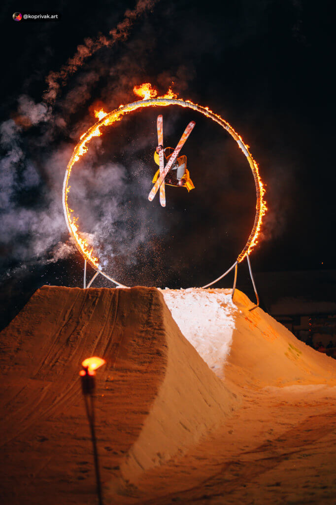 Fire ring jump skier